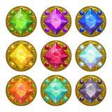 Amulettes d'or rondes colorées de vecteur Photos libres de droits