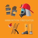 Amunition of firefighter. On yellow background vector illustration Stock Images