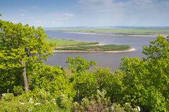 The Amur River near the town of Amursk. Khabarovsk region of the. Russian Far East stock image