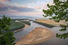 The Amur River near the village of Ommi. Khabarovsk Regionin the. The Amur River near the village of Ommi. Khabarovsk Region in the Russian Far East royalty free stock photo
