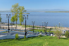 Amur River and the stairs to the embankment in Khabarovsk, Russi Royalty Free Stock Photography