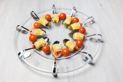 Amuse appetizer on glass scale Stock Photography