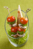 Amuse-gueule with tomatoes, champignons,and pita bread Stock Images