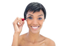 Amused black haired woman applying mascara Royalty Free Stock Photo