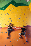 Amused couple climbing up the wall together. Full of happiness. Amused athletic young couple climbing up the wall together while training and holding hands in Royalty Free Stock Photography