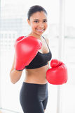 Amused dark haired model in sportswear wearing red boxing gloves Stock Photo