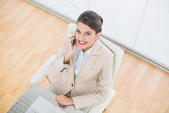 Amused smart brown haired businesswoman making a phone call Stock Photos