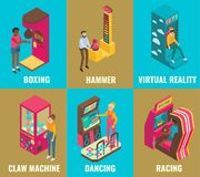 Amusement arcade game machine icon set vector flat isometric illustration. Amusement arcade game machine icon set. Vector 3d isometric illustration of boxing Stock Photography