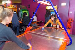 In the amusement arcade. Play stock photo