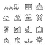Amusement, circus and carousel linear vector icon set Stock Image