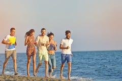 Amusement d'amis sur la plage sous la lumière du soleil de coucher du soleil Image libre de droits