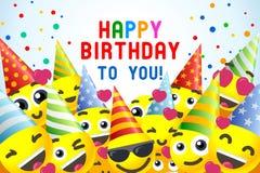 Amusement d'Emojii de fond de joyeux anniversaire illustration libre de droits