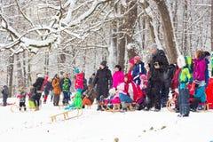 Amusement d'hiver, neige, famille sledding à l'horaire d'hiver Photo libre de droits