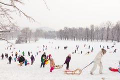 Amusement d'hiver, neige, famille sledding à l'horaire d'hiver Image stock
