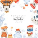 Amusement d'hiver d'ours blancs Cadre de salutation d'Instagram illustration stock