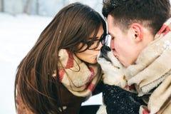 amusement de couples ayant des jeunes de l'hiver de stationnement Photographie stock