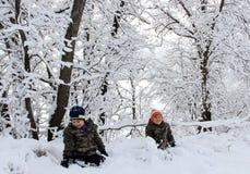 Amusement de famille dans la neige de Manitoba images libres de droits