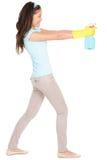 Amusement de femme de nettoyage d'isolement Photos libres de droits