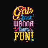 Amusement de filles de signe de T-shirt illustration stock