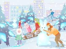 Amusement de l'hiver Illustration Libre de Droits