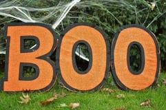 Amusement de partie d'enfants de célébration de Boo Sign Orange Background Halloween image stock
