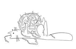Amusement, dessins artistiques de chiffres de chat de bande dessinée Études originales illustration stock