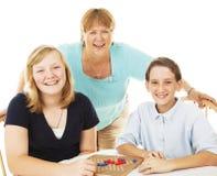 Amusement et jeux de famille photographie stock