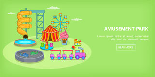 Amusement games horizontal banner, cartoon style. Amusement games horizontal banner concept. Cartoon illustration of amusement games vector horizontal banner for Stock Photo