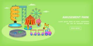Amusement games horizontal banner, cartoon style Stock Photo