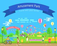 Amusement and Healthy Park Vector Illustration. Amusement and healthy park, kids playing table tennis, biker and recreation, ferris wheel, and attractions Royalty Free Stock Photos