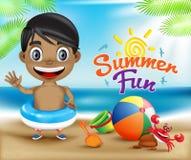 Amusement heureux et crabe d'été d'enfant dans Sunny Bright Sky Design Image stock