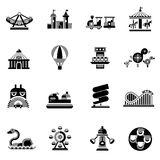 Amusement Icons Black. Amusement park fairground games and attractions icons black set isolated vector illustration Royalty Free Stock Images
