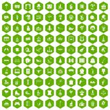 100 amusement icons hexagon green. 100 amusement icons set in green hexagon isolated vector illustration vector illustration