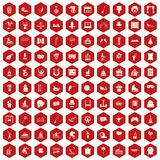 100 amusement icons hexagon red. 100 amusement icons set in red hexagon isolated vector illustration Vector Illustration