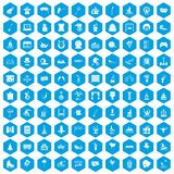 100 amusement icons set blue. 100 amusement icons set in blue hexagon isolated vector illustration Royalty Free Stock Image