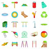 Amusement icons set, cartoon style. Amusement icons set. Cartoon set of 25 amusement icons for web isolated on white background Royalty Free Stock Images