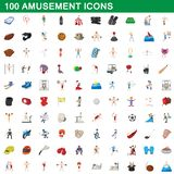 100 amusement icons set, cartoon style. 100 amusement icons set in cartoon style for any design illustration royalty free illustration