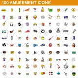 100 amusement icons set, cartoon style. 100 amusement icons set in cartoon style for any design illustration stock illustration