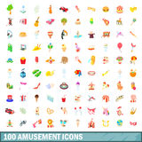 100 amusement icons set, cartoon style Royalty Free Stock Images