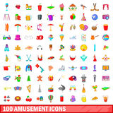 100 amusement icons set, cartoon style Stock Photos