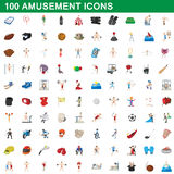 100 amusement icons set, cartoon style Stock Photo