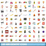 100 amusement icons set, cartoon style. 100 amusement icons set in cartoon style for any design vector illustration Stock Illustration
