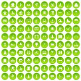 100 amusement icons set green circle. Isolated on white background vector illustration Stock Illustration
