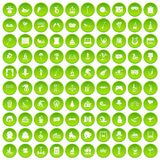 100 amusement icons set green. 100 amusement icons set in green circle isolated on white vectr illustration Stock Illustration
