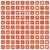 100 amusement icons set grunge orange. 100 amusement icons set in grunge style orange color isolated on white background vector illustration royalty free illustration