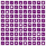 100 amusement icons set grunge purple. 100 amusement icons set in grunge style purple color isolated on white background vector illustration Royalty Free Stock Photography