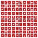 100 amusement icons set grunge red. 100 amusement icons set in grunge style red color isolated on white background vector illustration Stock Image
