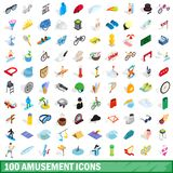 100 amusement icons set, isometric 3d style. 100 amusement icons set in isometric 3d style for any design illustration vector illustration
