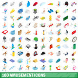 100 amusement icons set, isometric 3d style Royalty Free Stock Images