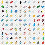 100 amusement icons set, isometric 3d style Royalty Free Stock Photos